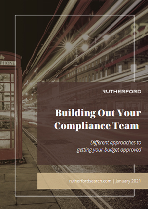 cover of rutherford building out your compliance team guide