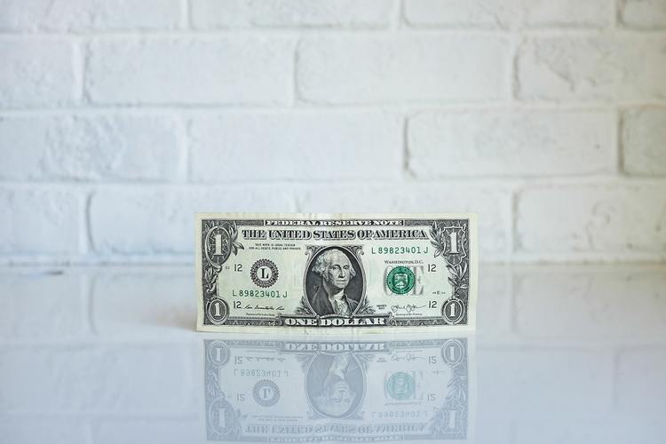 american one dollar in front of white brick wall