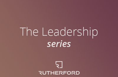 burgundy gradient with text overlay saying the leadership series and rutherford logo