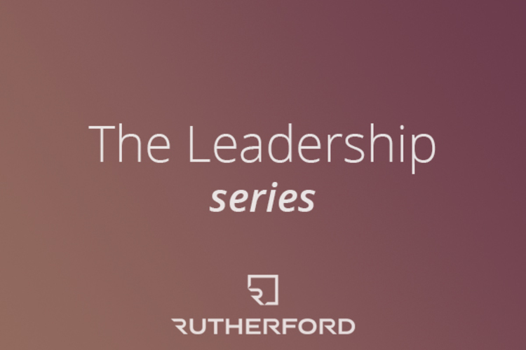 burgundy gradient with text overlay saying the leadership series rutherford