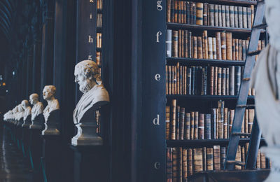 statues of philosophers in a vintage library with old books